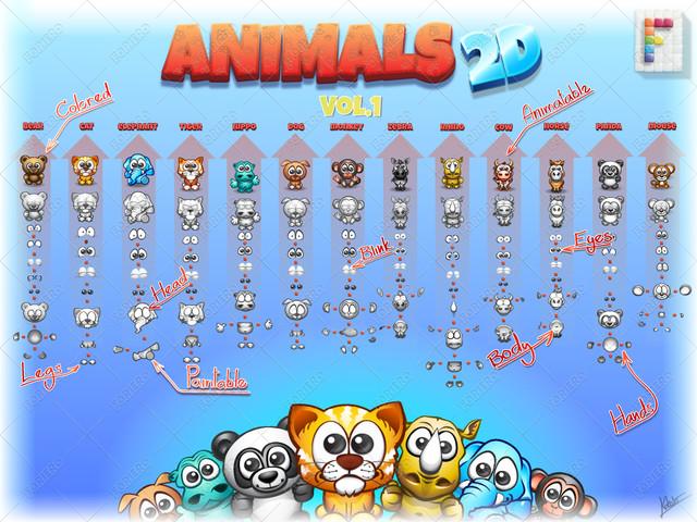 مجموعه حیوانات دو بعدی